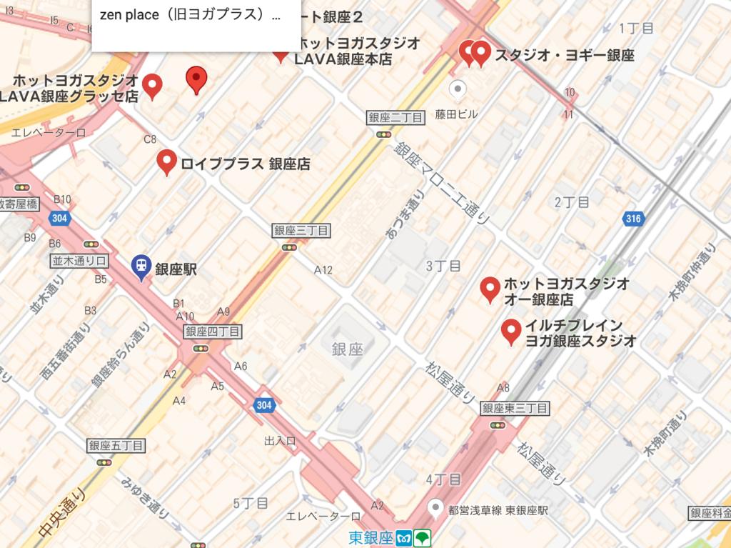 銀座駅周辺のホットヨガスタジオの地図