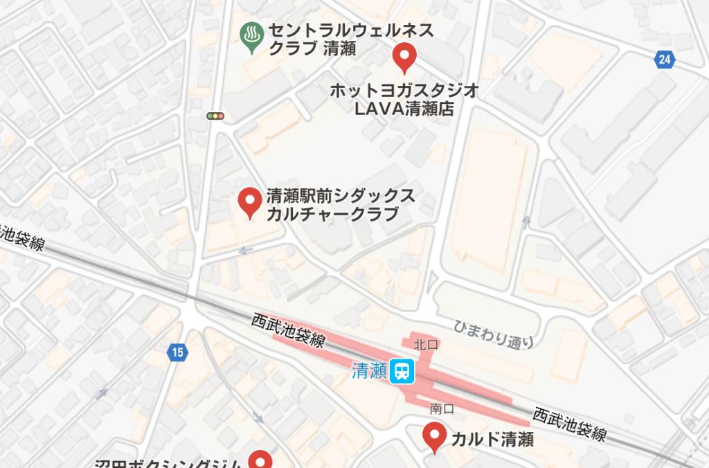 清瀬駅周辺のホットヨガスタジオ比較地図