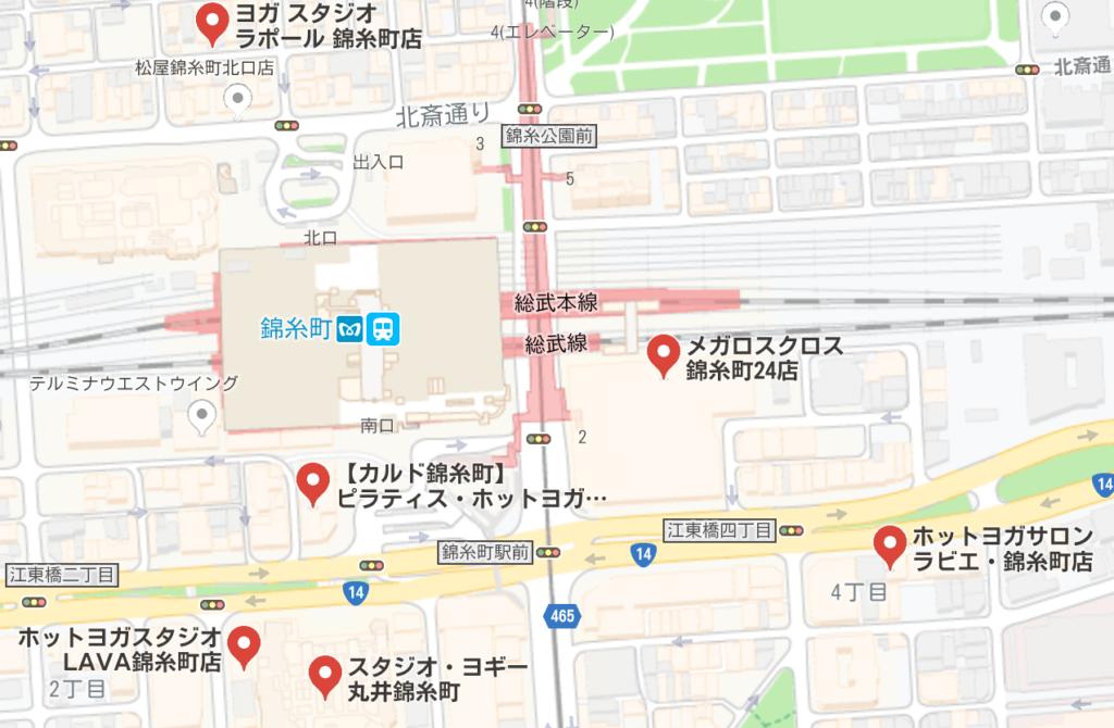 錦糸町周辺のホットヨガスタジオ比較