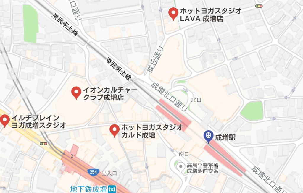 成増駅周辺のホットヨガスタジオ比較地図