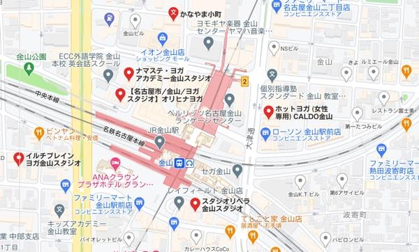 カルド金山店と金山周辺のホットヨガスタジオの地図