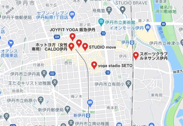 カルド伊丹店と伊丹駅周辺のホットヨガスタジオの地図