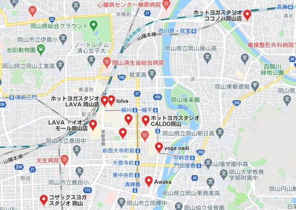 カルド岡山店と岡山駅周辺のホットヨガスタジオの地図
