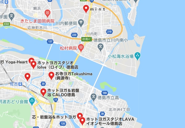カルド徳島店と徳島駅周辺にある他のホットヨガスタジオの地図