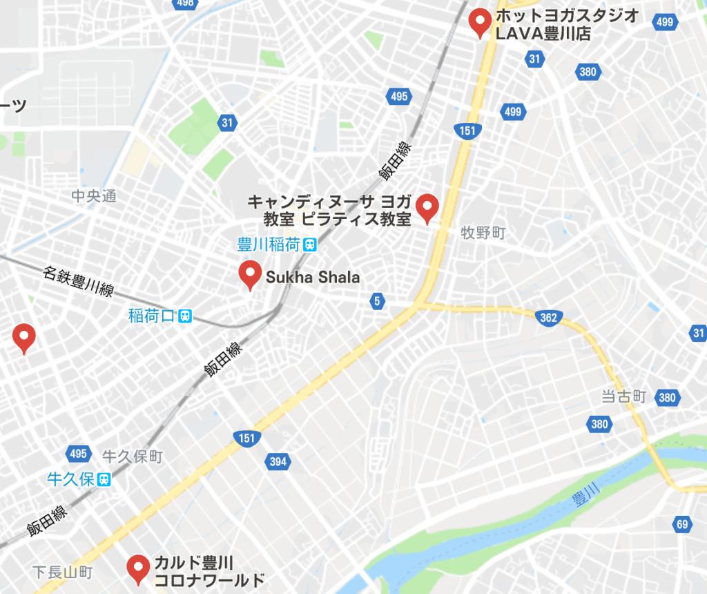 カルド豊川店と豊川駅周辺にある他のホットヨガスタジオの地図