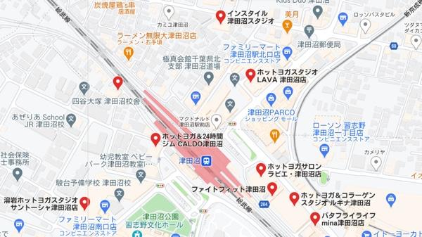 カルド津田沼店と津田沼駅のホットヨガスタジオの地図