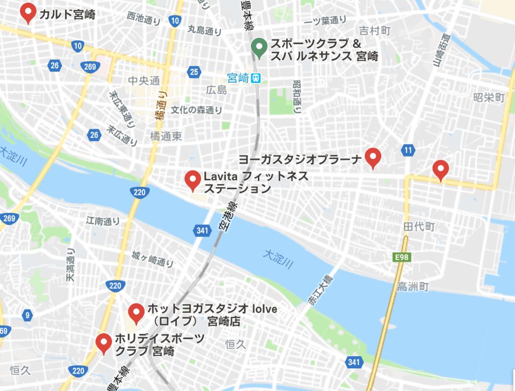 カルド宮崎店と宮崎駅付近にある他のホットヨガスタジオの地図