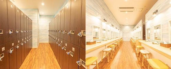 カルド宮崎店のロッカールームとパウダールーム
