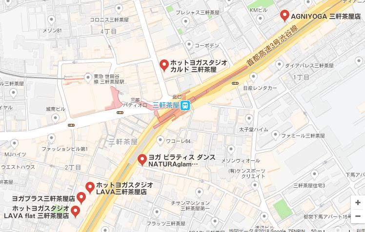 三軒茶屋駅周辺の地図
