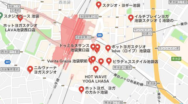 池袋駅周辺のホットヨガスタジオの地図