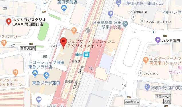 蒲田駅周辺のホットヨガスタジオ比較地図