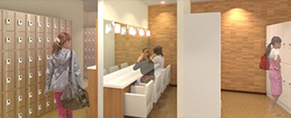 カルド新宿店のロッカールームとパウダールームで人が着替えている