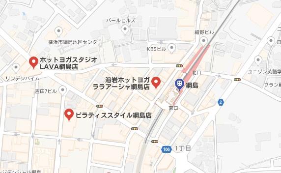 カルド綱島店と綱島駅周辺のホットヨガスタジオの地図