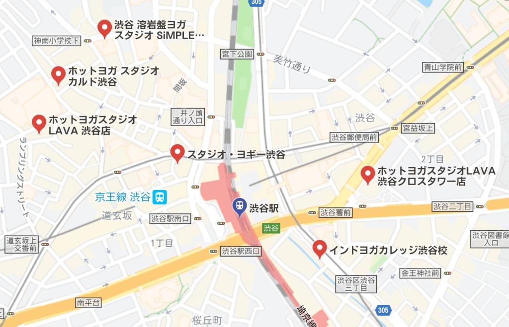 カルド渋谷店と渋谷駅周辺にある他のホットヨガスタジオの地図