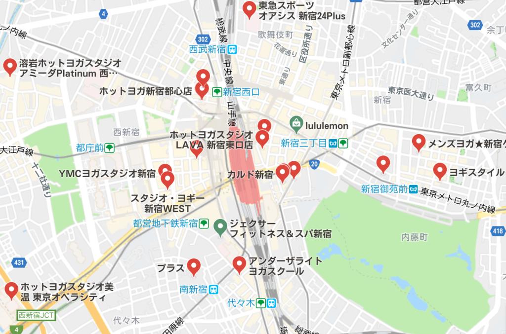 カルド新宿店と新宿駅周辺にあるホットヨガスタジオの地図