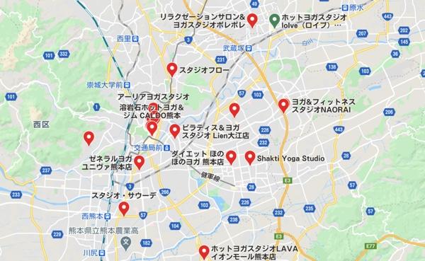 カルド熊本店と熊本県内のホットヨガスタジオの地図