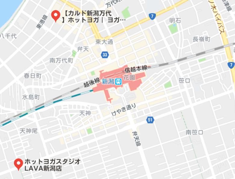 カルド新潟万代店と新潟駅周辺のホットヨガスタジオの地図