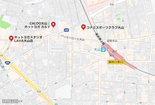 カルド大山店と大山駅周辺のホットヨガスタジオの地図
