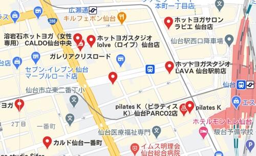 カルド仙台一番町店と仙台駅周辺のホットヨガスタジオの地図