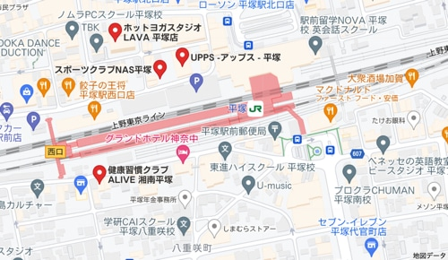 カルド平塚店と平塚駅周辺のホットヨガスタジオの地図