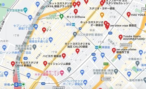 カルドGINZA9店と銀座・新橋駅周辺のホットヨガスタジオの地図